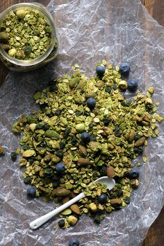 Matcha Granola With Blueberries, Walnuts, and Pecans — how great would this be atop a bowl of Greek yogurt?