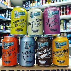 Full range of cans now in stock from @badcobrewinganddistilling  Summer Breeze - 4.5% Fruit Beer  Whiter Shade Of Pale - 3.2% Oatmeal Pale Ale  Slow Rider - 2.8% Grapefruit Ale  Love Over Gold - 4.1% Blonde Ale Wild Gravity - 5.2% IPA  Dazed & Confused - 5.5% Milk Stout  Comfortably Numb - 3.8% Pale Ale
