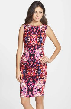 Main Image - Nicole Miller 'Lauren Water Lily' Cotton Blend Body-Con Dress