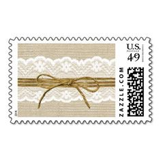 Ivory Lace and Rustic Twine Bow Burlap Wedding Postage Stamps. I love this design! It is available for customization or ready to buy as is. All you need is to add your business info to this template then place the order. It will ship within 24 hours. Just click the image to make your own!