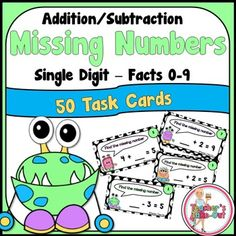 Missing Numbers with Simple Addition and Subtraction includes 50 task cards! This set uses facts 0-9. $