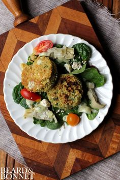 nice Spinach and Artichoke Salad with Millet Cakes (Gluten-Free) {Beard and Bonnet} #...