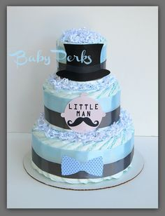 Little Man Diaper Cake Mustache Baby Shower  Mustache by MsPerks, $49.00
