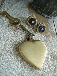 brass heart keyring