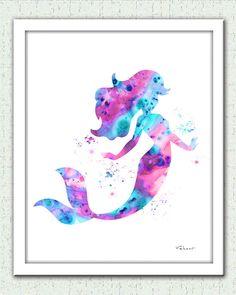 Mermaid print Mermaid watercolor print Ariel by FluidDiamondArt