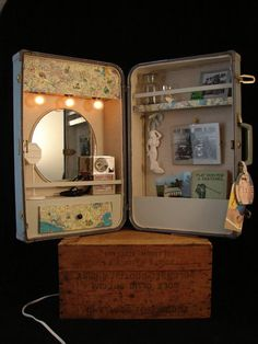 Repurpose suitcases | Upcycled Vintage Suitcase Cabinet with Lights by BenclifDesigns | We ...