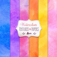 Watercolour Textures: 6 watercolors Digital Paper Pack. Handmade, backgrounds in 6 different colours, paper crafts, scrapbooking.