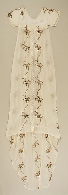 Evening dress Date: ca. 1795 Culture: probably British Medium: cotton, silk Accession Number: 1978.280.2