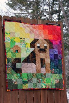 Hand Quilted Rainbow Dog  Quilt. by DarsSewingCreations on Etsy