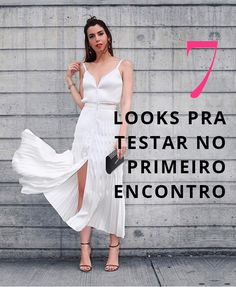 Camila Coutinho Look Barbara Casasola Sandália e bolsa Jimmy Choo NYFW 2016 Split Prom Dresses, Elegant Prom Dresses, Beautiful Dresses, Evening Dresses, Beautiful Ladies, White Fashion, Girl Fashion, Fashion Dresses, Fashion Looks