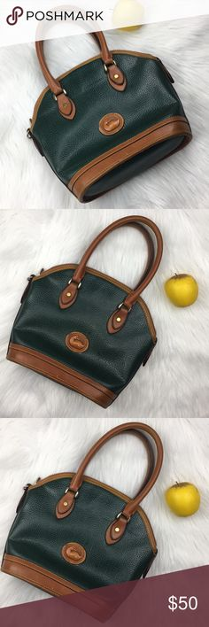 Vintage hunter green Rooney & Bourke Vintage Hunter green and brown leather Some wear as shown in photos 12 inches across  10 inches tall 4 inches at base Dooney & Bourke Bags Totes