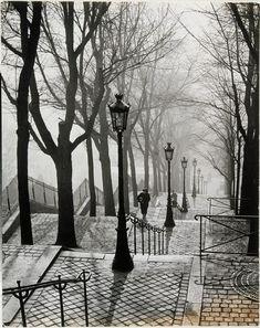 Escalier de la butte Montmartre,(1937),  Brassaï