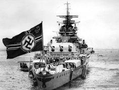 Pocket Battleship Admiral Graf Spee with Kreigsmarine Navy Flag!