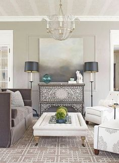 No fireplace? This room illustrates that you don't need a fireplace to have a dynamic focal point!