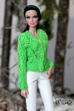 ELENPRIV Hand-knitted red cardigan  for Fashion Royalty FR2 NuFace Color Infusion Doll by elenpriv on Etsy