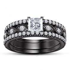 14k Black Gold Plated 925 Silver Princess Simulated Diamond Bridal Ring Set 3Pcs #Aonejewels