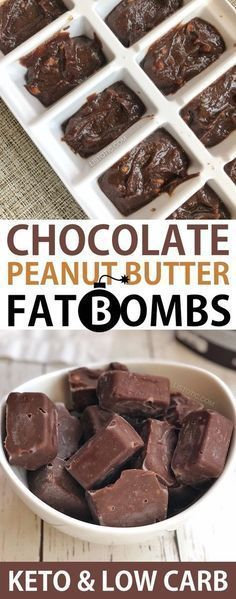 Quick and Easy Keto Chocolate Peanut Butter Fat Bombs -- low carb and sugar free. - Quick and Easy Keto Chocolate Peanut Butter Fat Bombs -- low carb and sugar free! Made with cream cheese, coconut oil, cocoa powder, peanut butter, bu. Keto Desserts, Dessert Recipes, Keto Snacks, Stevia Desserts, Quick Keto Dessert, Stevia Recipes, Snack Recipes, Recipes With Monk Fruit Sweetener, Coconut Oil Recipes Keto