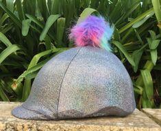 Silver helmet cover with multi coloured Pom Pom Helmet Covers, Riding Helmets, Tie Dye, Bride, Purple, Silver, Color, Colour, Bridal