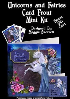Unicorn and Blue Fairy Card Front plus Gift Card on Craftsuprint - Add To Basket!