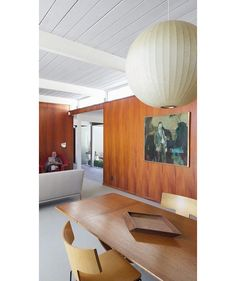David Lauer Mid Century Modern:ceiling t and painted beams natural paneling
