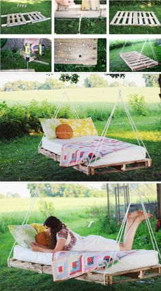 Easy DIY Backyard Projects with Lots of Tutorials – For Creative Juice DIY Pallet Swing Bed: This swing bed can be made as simply as just using a pallet and rope. Then add a mattress and some pillows for a comfortable addition to your backyard. Outdoor Pallet Projects, Pallet Crafts, Backyard Projects, Wood Projects, Backyard Ideas, Furniture Projects, Nice Backyard, Diy Pallet Bed, Furniture Movers