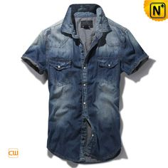Blue Button up Short Sleeve Denim Shirt for Men CW114328 $75.89 - www.cwmalls.com