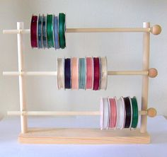Ribbon Holder Storage Rack Organizer Holds 75 Spools. $24.98 via Etsy. | Manualidades | Pinterest | Ribbon holders Storage rack and Storage & Ribbon Holder Storage Rack Organizer Holds 75 Spools. $24.98 via ...