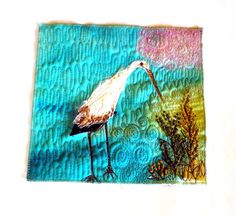 Stork freshmen craine fiber art, blue mini wallhanging, minir fiber art quilt, mixed media original quilt, original fiber art, bird fiber ar by Crearts on Etsy