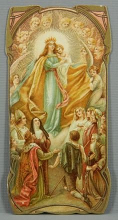 Mary Queen of Heaven German Antique Chromolithographed Holy Card Gold Accents