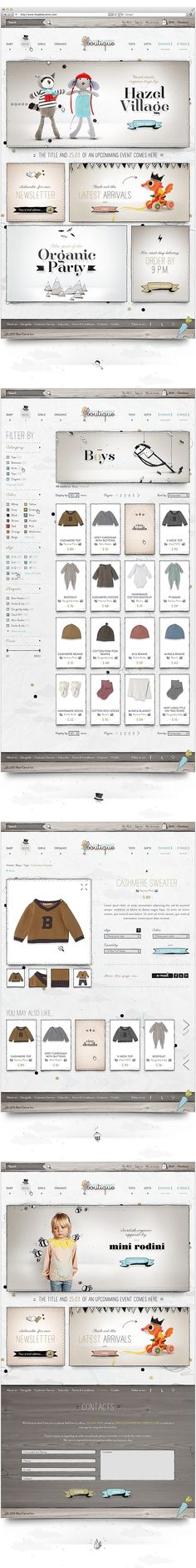 Web design inspiration: texture / paper / whimsical / muted tones | Blue Carrot Boutique | Designer: Stella Petcova