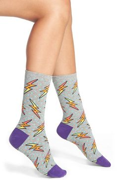 HOT SOX 'Lightning Bolts' Crew Socks available at #Nordstrom