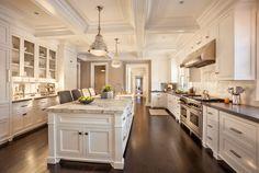 White kitchen + warm wood floors + coffered ceiling + marble island countertop + gray perimeter countertop = beautiful. (Paint: Benjamin Moore White Dove #OC-17)