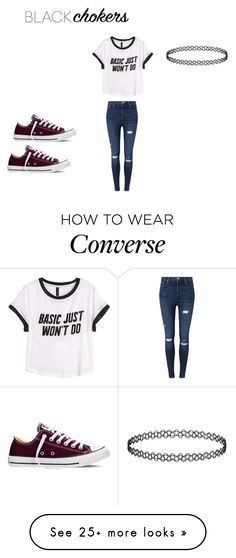 """Black chokers: Casual look"" by shopaholicgirl9 on Polyvore featuring H&M, Miss Selfridge, Converse and blackchokers"