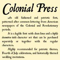 Colonial Press Font