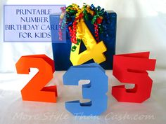 Printable Number Birthday Cards for Kids- since you can do this with any paper I thought it would be great using a map!