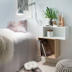 box shelf as bedside table - Google Search