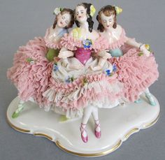 Volkstedt Dresden Porcelain Figurine 3 Ballerinas Pink Lace w Flowers as Is | eBay