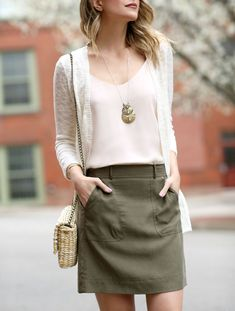 Basics Please - Penny Pincher Fashion : Olive green Cargo skirt, pink tank or camisole, white or cream cardigan Khaki Skirt Outfits, Fall Outfits, Casual Outfits, Work Outfits, Olive Green Skirt, Olive Jeans, Winter Skirt Outfit, Love Clothing, Vestidos