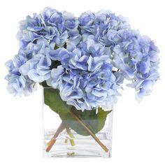 Faux Blue Hydrangea Arrangement.