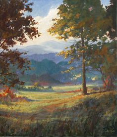 """Remaining much as it was a hundred years ago, Cades Cove is a memorie of life in the Smoky Mountains before the Park was formed. On any given day, deer and bear, groundhog and turkey can all be seen in these open fields where millions have passed to glimpse a bit of our mountain heritage. """"Cades Cove Memories"""" by artist Jim Gray"""