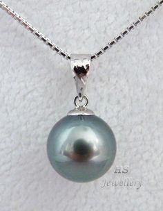 HS Black #Tahitian South Sea Cultured #Pearl 10.38mm 18KWG #Pendant Top #Jewelry #Anniversary #Birthday #Valentine