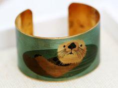 Otter Brass Cuff Bracelet jewelry gift by emmalocketshop on Etsy