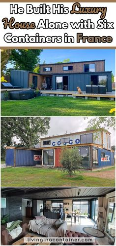 Killian Chastel built his atypical house by himself, near Dinan, by welding six containers that crossed the oceans. Building A Container Home, Container Buildings, Container Architecture, Shipping Container Home Designs, Shipping Container House Plans, Shipping Containers, Casas Containers, Storage Containers, Tiny House Design