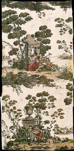 Textiles-Printed  Hunting and Fishing Scenes  Manufactured by Robert Jones  Date: 1769 Culture: English Medium: Linen and cotton