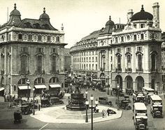 Piccadilly Circus, with Eros at its centre, looking towards Regent Street in about 1935