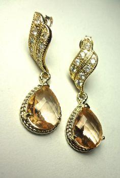 Gold earrings  Champagne  Bridal jewelry  by QueenMeJewelryLLC, $32.99