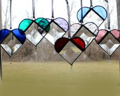 One Beveled Stained Glass Heart- Crystal Drop - Mother's Day Gift -Ornament- Home Decor