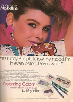 Maybelline Blooming Colors makeup ad from 1986