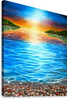 Summer, day, blue, sea, scene, sunset, colorful, fine art, oil painting, decor items, canvas print, for sale
