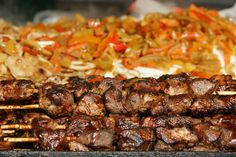 https://flic.kr/p/73EEfv | Shish Kebab | I went to the Greenwich Avenue Fair last Saturday. Street fairs always have grilled food. It's as though it's a law.  Is it healthy? I doubt it. Is it fun to photograph? Of course!!